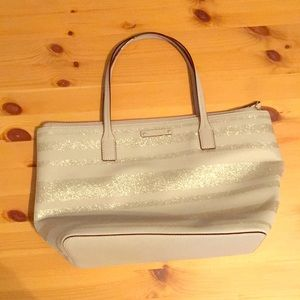 Kate Spade Silver/grey glitter stripped handbag